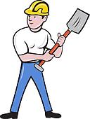 construction worker with shovel spade