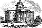 Alabama State Capitol Building, United States, vintage engraved illustration. Trousset encyclopedia (1886 - 1891).