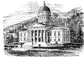 The State Capitol Building in Montpelier, Vermont, vintage engraving