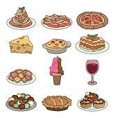 cartoon Italian food icon set