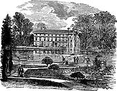 The Royal Botanic Garden and a view of Museum No. 1 vintage engraving