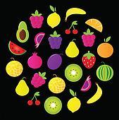 Fresh tasty stylized fruit circle isolated on black