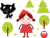 Cute Red Riding Hood, Wold & Accessories, Icons