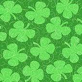Shamrocks  on a Background of Green Curlicues