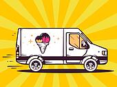 illustration of van free and fast delivering ice cream to