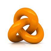 Orange infinity knot isolated on white background