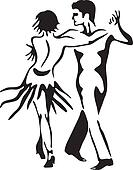 Latin dance - rumba. Dancing couple.