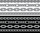 Silver chain. Seamless Borders vector set.