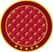 Round sticker with an imitation of upholstery fabric.