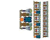 Egyptian ornament with a scarab. Antique pattern.