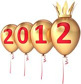 New 2012 Year balloons with crown