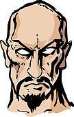 Evil sinister man hand-drawn
