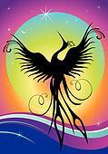 Phoenix bird silhouette re-birth