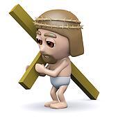 3d Jesus carries the cross
