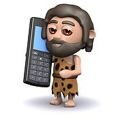 3d Caveman with a mobile phone
