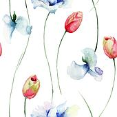 Seamless pattern with Tulips and Sweet pea flowers