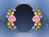 Oval banner with pink roses