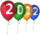 2012 New Year balloons multicolor