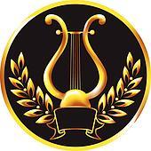 Gold lyre, framed by a laurel wreat