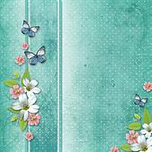 card with flowers and butterfly for congratulation to holiday