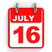 Calendar on white background. 16 July.