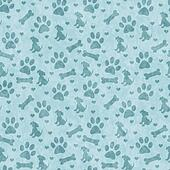 Teal Doggy Tile Pattern Repeat Background