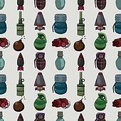 cartoon bomb seamless pattern
