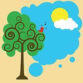 bird on a tree greeting sun