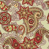 vector seamless hand drawn paisley pattern