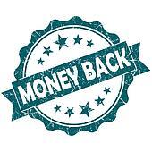 Money back turquoise vintage round grunge seal isolated on white background