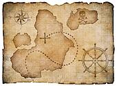 Old pirates parchment treasure map isolated. Clipping path included.