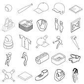 Baseball icons set, isometric 3d style