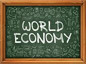 World Economy - Hand Drawn on Green Chalkboard.