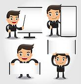 set of funny cartoon office worker icon