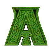 3d made - illustration of Celtic alphabet letter A