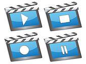 movie cinema clapboard icons