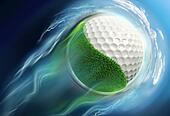 golf ball planet with grass travel in space