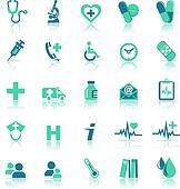 Health care Icons in medical green