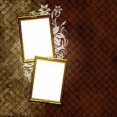 Golden frame over vintage striped wallpaper and floral elements