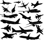 Set silhouettes of aircraft