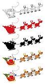 Santa Claus And Team Of Reindeer