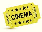 Yellow cinema ticket illustration