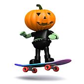 3d Pumpkin head monster on a skateboard