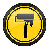 brush icon, yellow logo, paint sign