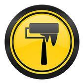 brush icon, yellow logo, paint sign
