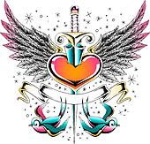 swallow wing heart emblem