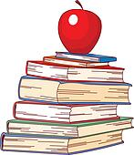 Pile book and red apple