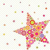 Spring summer colorful flower star shape greeting card