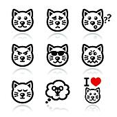 cat icons set - happy, sad, angry i