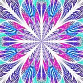 Symmetrical pattern in stained-glass window style. Blue and pink